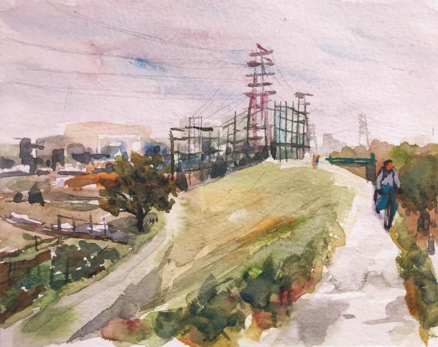 お散歩スケッチ「淀川堤防の道からの景色」とスケッチセット