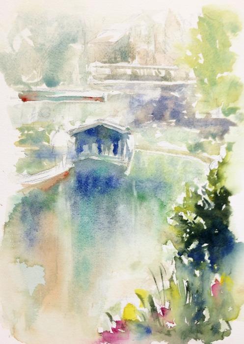 透明水彩画「京都の風景(伏見 運河)」途中2