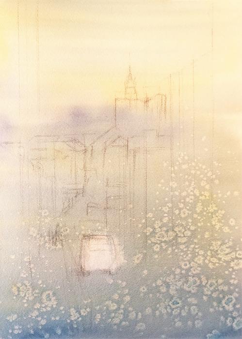 透明水彩画「初春の坂道(百済神社への坂道)」#7  (4)