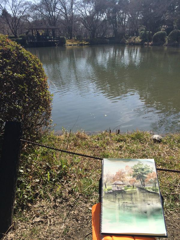 """今年初スケッチの京都府立植物園""""スケッチ筋""""衰えている?(大汗)"""