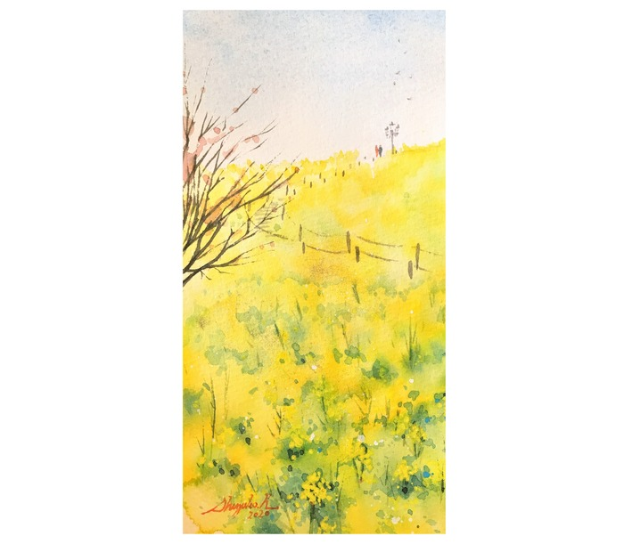 20200131透明水彩画「yellow magic」ナノハナ完成2