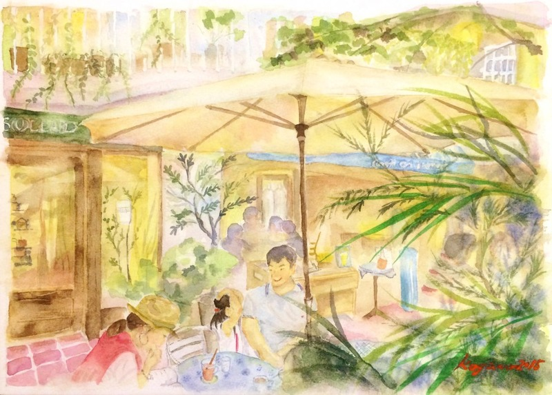 くろかわ透明水彩画教室「カフェの風景」&久々にあの人の来阪デモに行くぞ☆