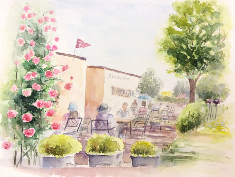 21Oさん透明水彩画作品「公園のカフェ 大阪中之島(仮題)」
