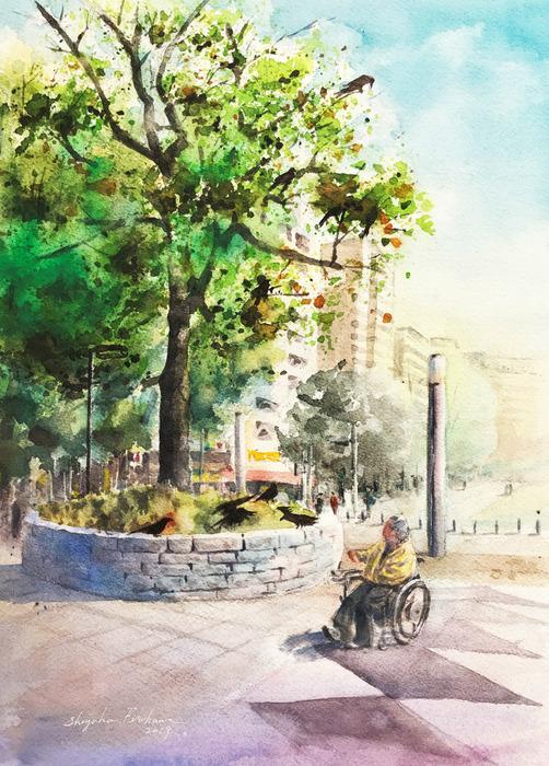 透明水彩画「憩い」(横浜の公園でみかけた風景)