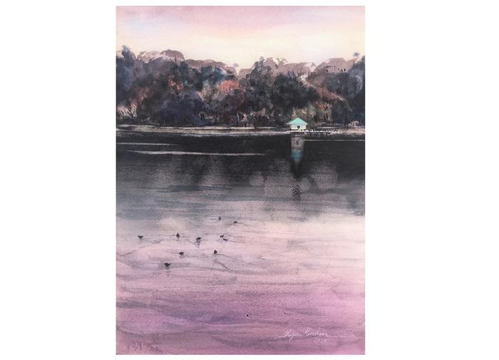 透明水彩画「晩秋の山田池」ダニエルスミスを使用しました