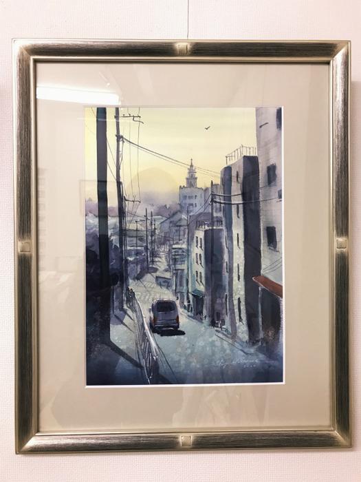 「黒川しづこマンスリー個展の様子:枚方の風景Ⅳ」下り坂のパース解説