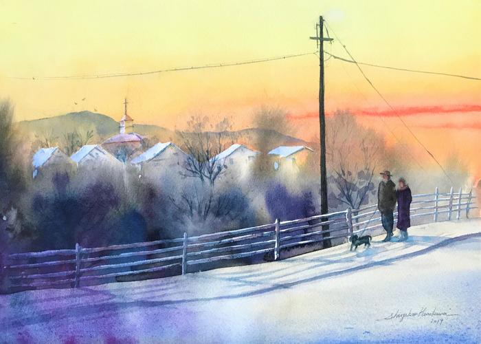 透明水彩画「教会の見える散歩道」グレージングするかしないか
