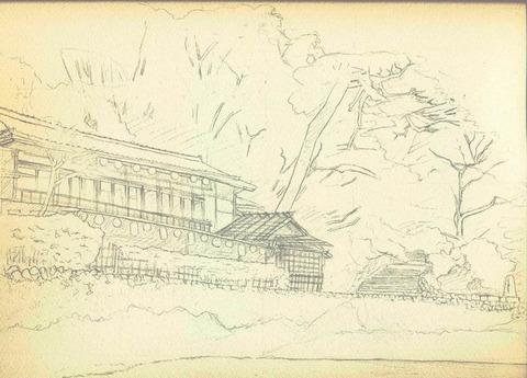作品「嵐山の船着場界隈」の下描きのみ完成。