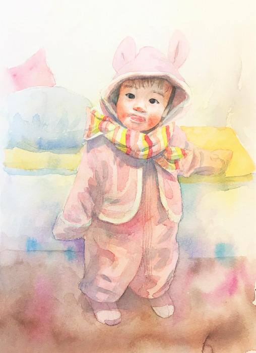 2020.03.08透明水彩画「うちの子がウサギだった頃」途中 (2)