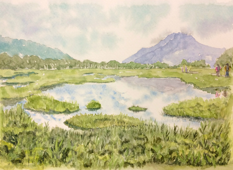 19Hさん水彩画「尾瀬の風景(仮題)」