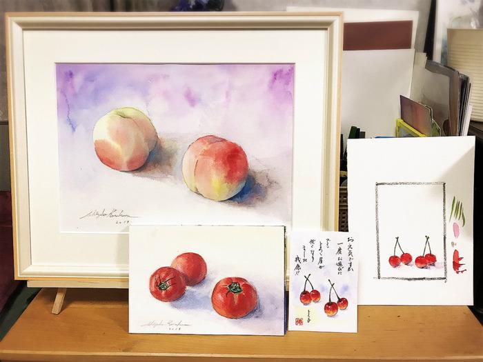 透明水彩画「桃!桃!桃!」8年で進歩あったかどうだか(=´Д`=)ゞ