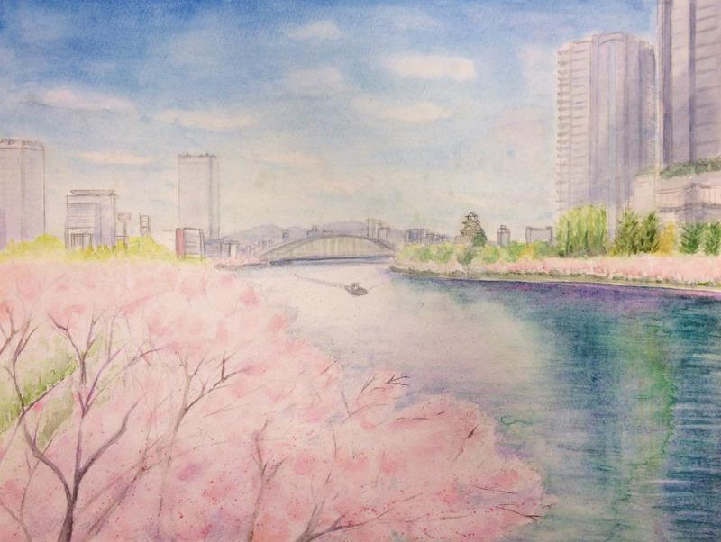 16H水彩画作品「大阪 春の大川(仮題)」