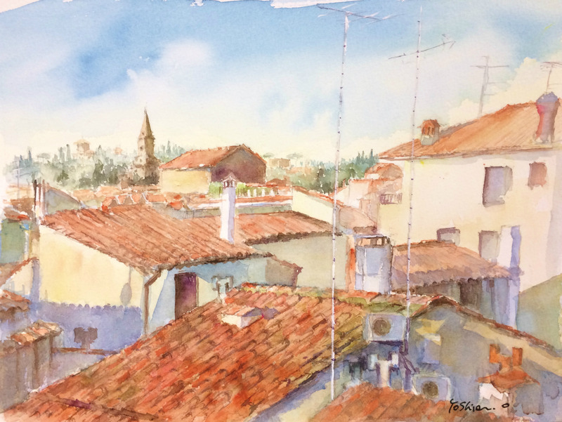 くろかわ透明水彩画教室OYさん「赤い屋根の風景(仮題)」&アートエッセイ「デッサンだけに着目すると…」