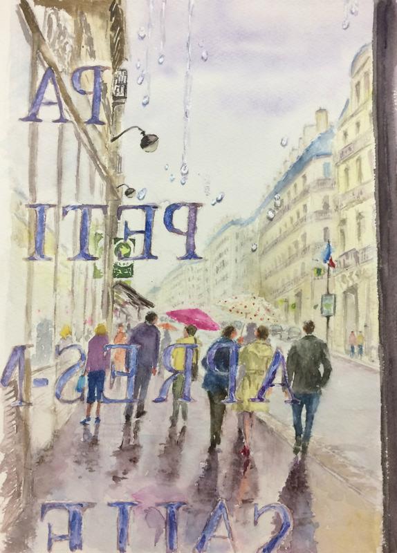 04OYさん透明水彩画 「パリの風景 窓際(仮題)」