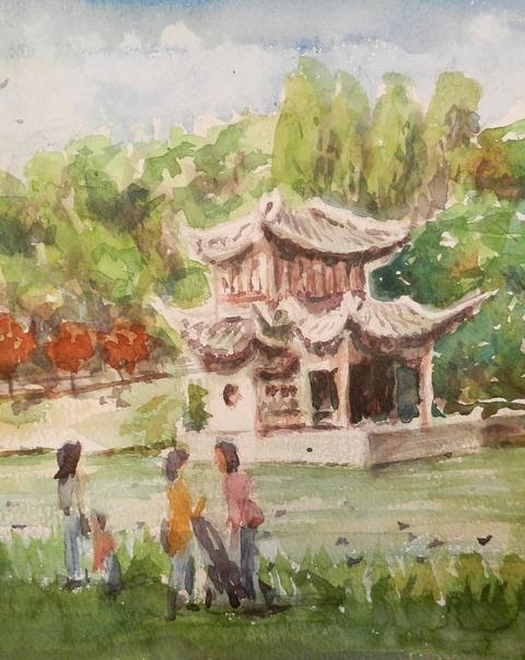 透明水彩スケッチ「鶴見緑地公園#2」