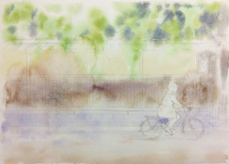 2016-7透明水彩画「風そよぐ 京都伏見」途中1small