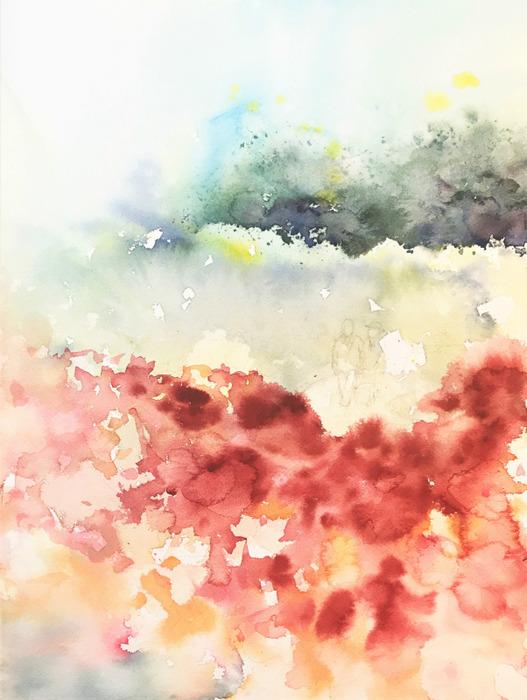 2020.01.30透明水彩画「待ちわびた季節」途中 (2)