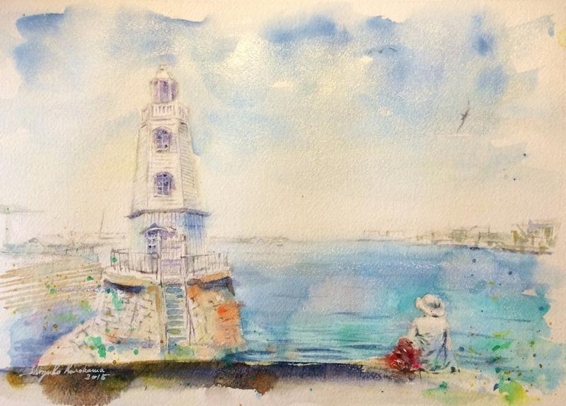 透明水彩画「大阪の風景(堺港)」完成