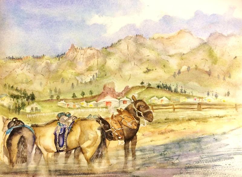 18Kさん透明水彩画作品「モンゴル」