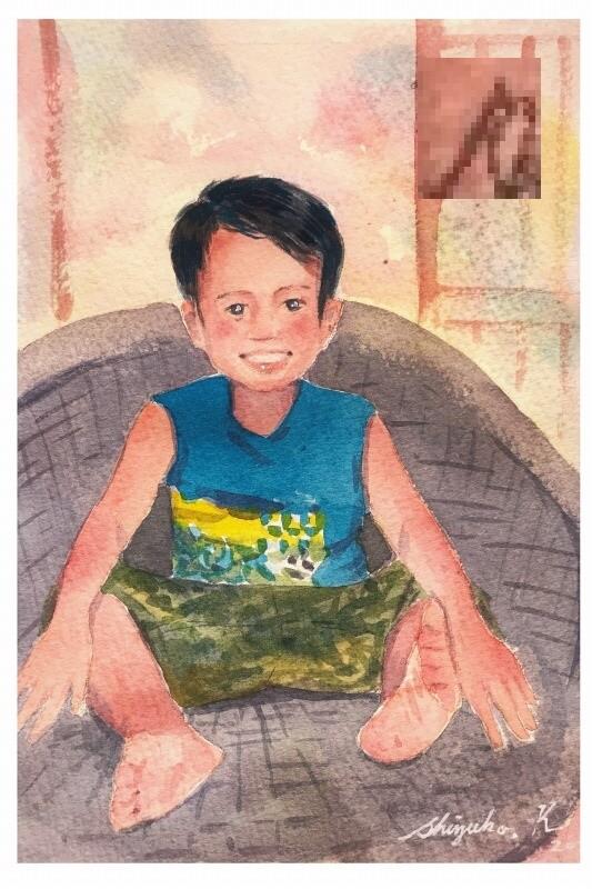 オンライン英会話💻フィリピン人の先生のお子さんを描く🎨