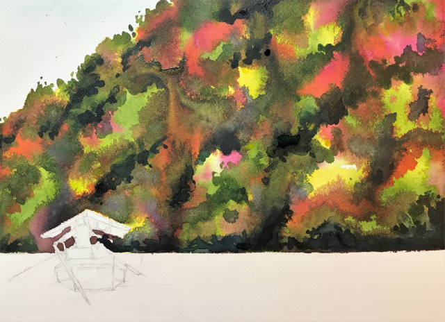 透明水彩画「保津川下り(京都嵐山)」製作途中 (1)