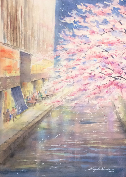 透明水彩画「春の夜」(京都 高瀬川)
