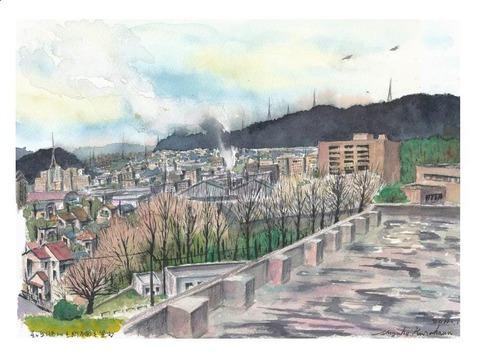 水彩画作品「病院から見える枚方の風景~生駒方面~」を描きました♪