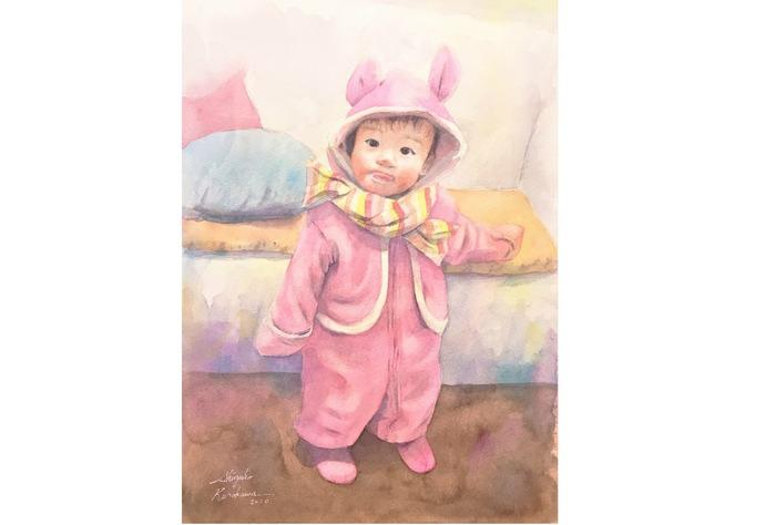 2020.03.08透明水彩画「うちの子がウサギだった頃」2