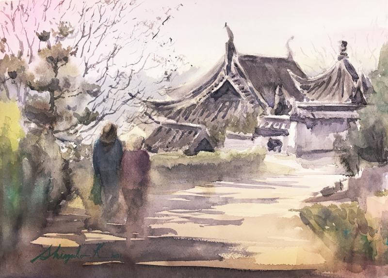 透明水彩スケッチ「春を待つ道」(鶴見緑地中国館前)