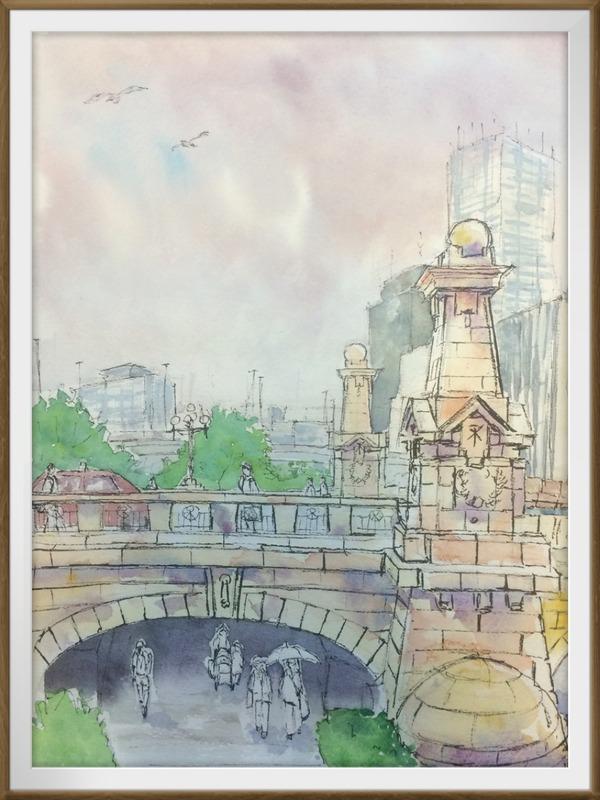 19透明水彩スケッチ「大阪 難波橋界隈にて」着彩途中
