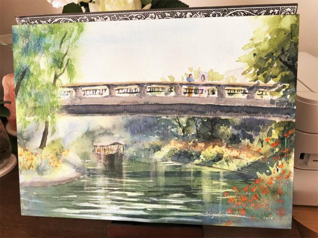透明水彩画「秋の香り(京都伏見)」を描きました☆