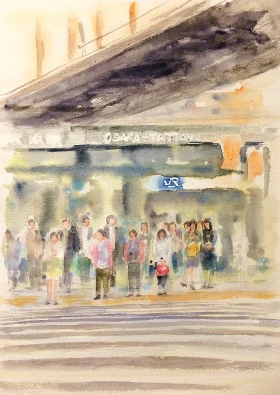 15透明水彩画「大阪の風景(JR大阪駅前)」途中2