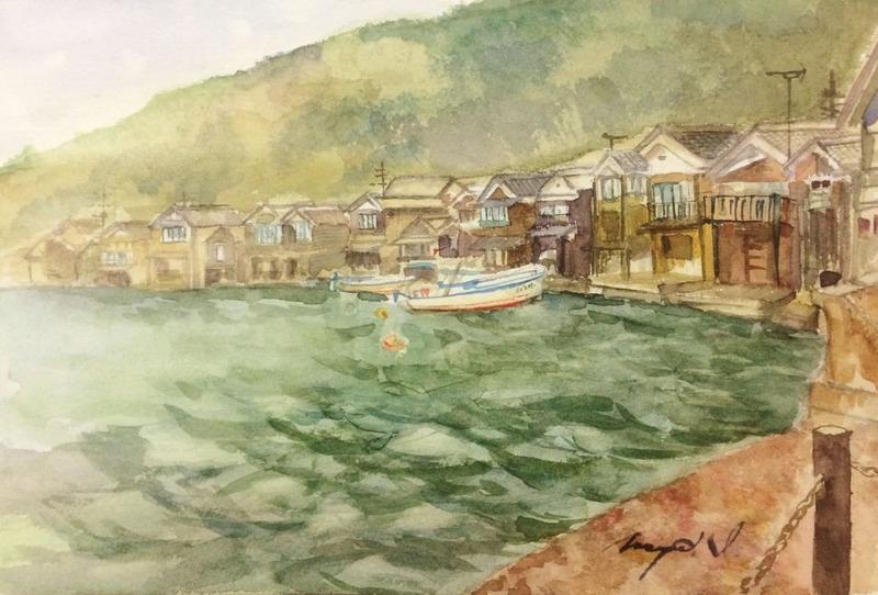 くろかわ透明水彩画教室Iさん「伊根の舟屋」&あの人が大阪に来てた?