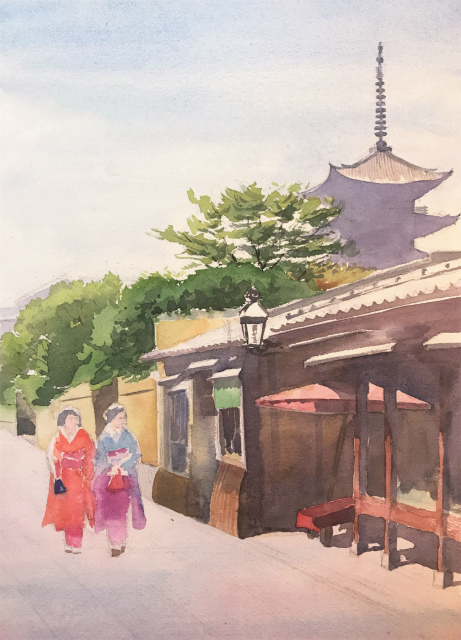 透明水彩画「夏の朝(寧々の道)」製作途中 (4)