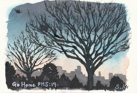水彩画作品「GO HOME PM5:17」を描きました♪ しかも、たまたまアジサイペンで!