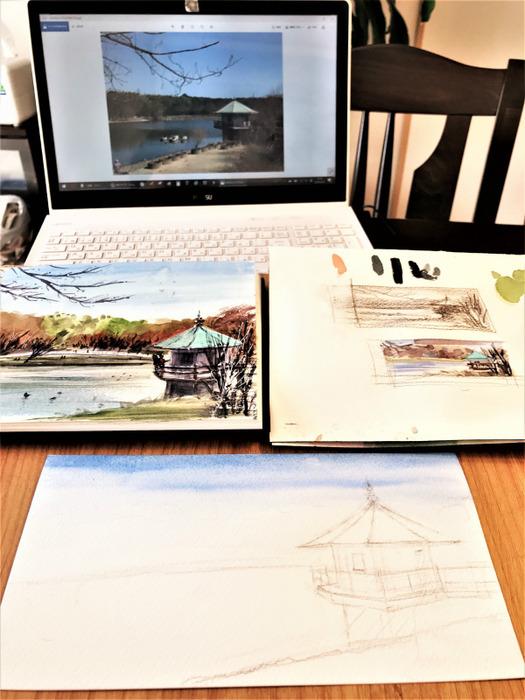 ホルベイン社「大きなポストカード」に描く山田池公園