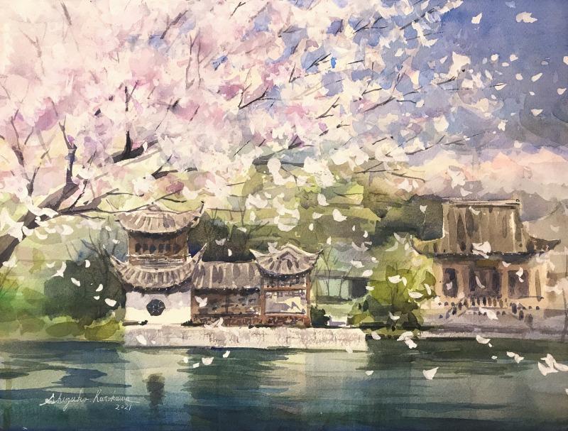 透明水彩鶴見緑地スケッチ「春の風」舞い落ちる桜🌸🌸🌸