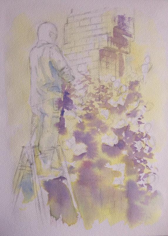 透明水彩画「大阪の風景(中之島公園の薔薇園)」途中