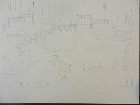 透明水彩画「美山の秋」製作途中 (1)