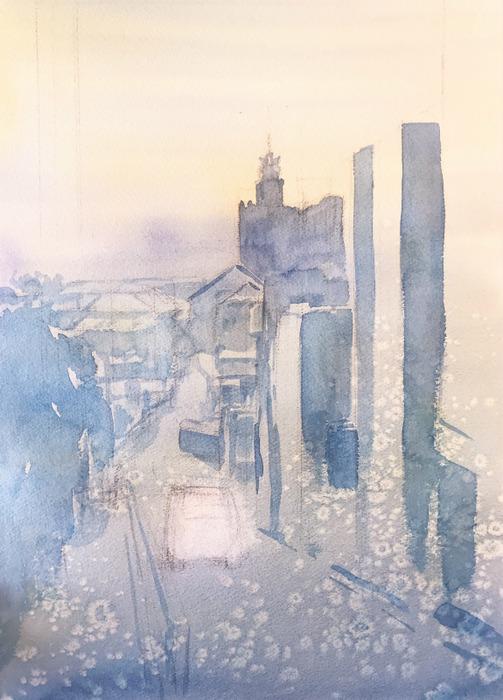 透明水彩画「初春の坂道(百済神社への坂道)」#7  (3)