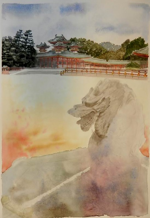 透明水彩画『平安神宮 龍の年(京都市 左京区)』着彩途中 (3)