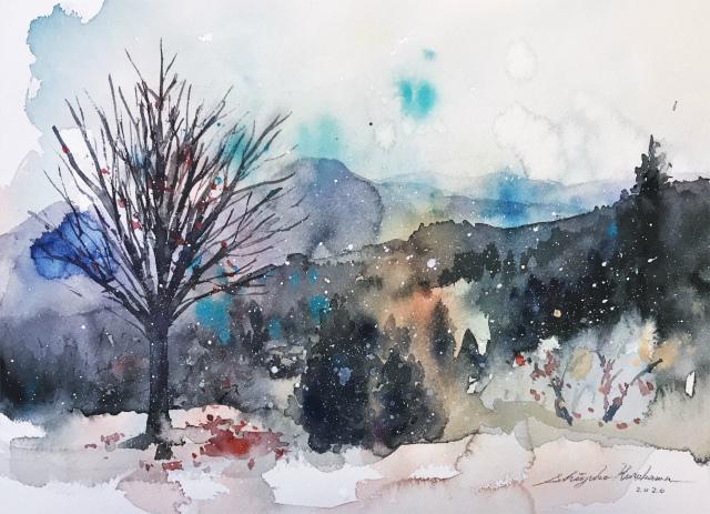 2020.01.27透明水彩画「初雪」(長野県上田市)完成