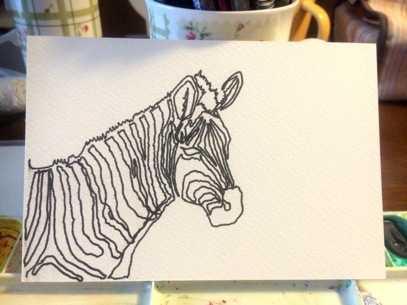 15透明水彩一本線スケッチ「シマウマ」ペン描き