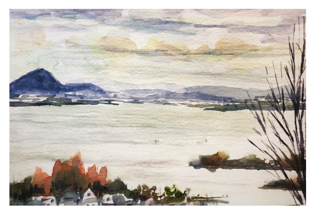 26年越しの母校の大学訪問「成安造形大学より琵琶湖を望む」