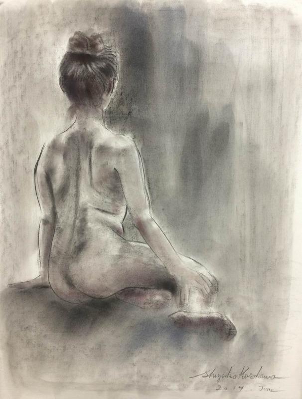 人物画教室で木炭紙初体験「指がー燃えるぅ~♪」(←「天城越え」風に)