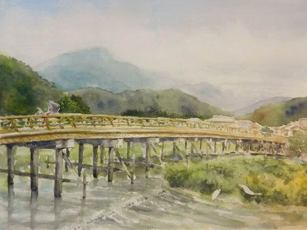 透明水彩スケッチ『京都 嵐山 渡月橋のたもとにて』