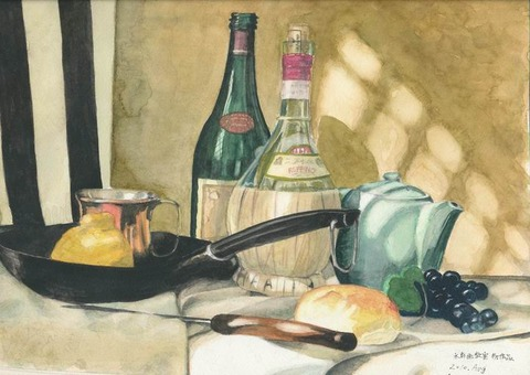 ブログをはじめるまでの水彩画作品「静物」「ミナミの金龍ラーメン」「佐川美術館」「本町のゼー六」の紹介