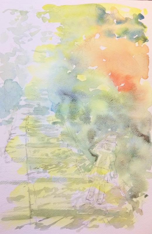 31透明水彩画「京都の風景(台所坂)」途中1