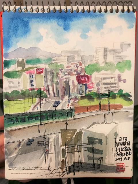 2019.08.08お散歩スケッチ枚方のビルから比叡山方面を望む
