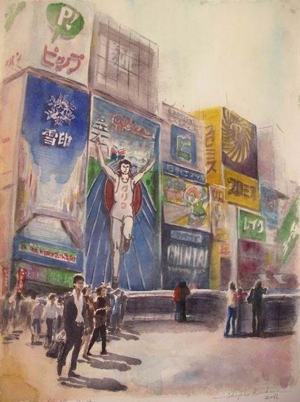 道頓堀 グリコの看板で御馴染みの 透明水彩画「大阪 難波 戎橋」を描きました♪ 製作過程もアップ!